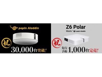 【ホームプロジェクター市場約4割獲得】「popIn Aladdin」2019年で販売台数30,000台突破!「Z6 Polar Meets popIn Aladdin」先行販売台数1,000台完売!