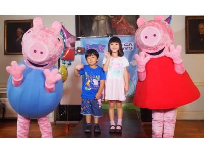 英国発プリスクールアニメ『Peppa Pig(ペッパピッグ)』の日本語吹き替えを担当する青山ららちゃん、鈴木楽くんが、試写会に登壇、子ブタの鳴き真似を披露