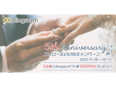 指輪選びの決め手が見つかるクチコミサイト「Ringraph(リングラフ)」サイトオープン5周年を記念し、ロゴデザインをリニューアル!5名様に5,000円分のギフト券が当たる特別キャンペーンもスタート