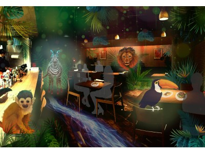 渋谷の夜にジャングル出現?!世界初!体験型プロジェクションマッピング「ナイトサファリレストラン」 バンクス渋谷にて開催!
