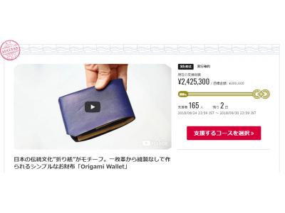 【Jbird Co.】先行予約プロジェクト目標800%突破!残りあと2日。一枚革から縫製なしで作られる「Origami Wallet」
