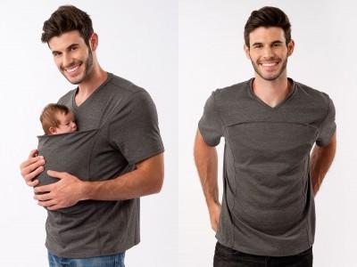 【新商品】イクメンにぴったり!カンガルーのように赤ちゃんを包みこめるポケットのついた男性用Tシャツの発売!