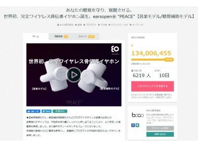 ~難聴問題に挑むテクノロジー~ 世界初、完全ワイヤレス骨伝導イヤホン『earsopen(R) PEACE』がクラウドファンディング「GREEN FUNDING」で日本最高支援額1.32億円を更新!