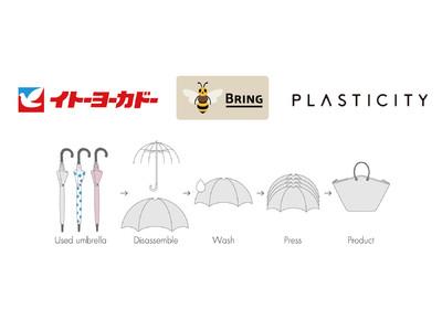サステナブルブランド「PLASTICITY」、イトーヨーカドーで回収するビニール傘からバッグを作る新たな取組を実施。
