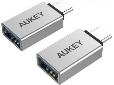OTG機能対応、高速データ転送が可能なUSB C to USB A 変換アダプタ「AUKEY CB-A22」シルバー&グレーが50%オフ♪