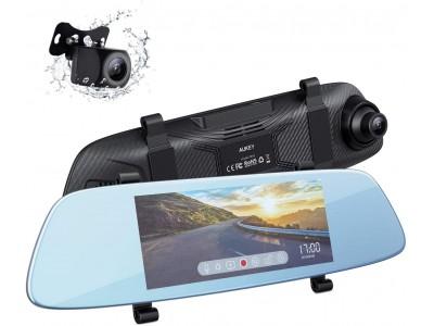 大画面モニター、駐車アシストなど多機能をサポートするミラー型前後2カメラドライブレコーダー「AUKEY DRA2」が50%オフ!