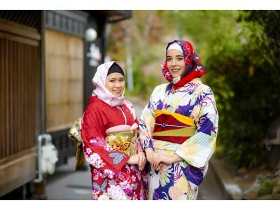 訪日ムスリム観光客に向けた着物に似合う『和柄ヒジャブ』のレンタルサービス開始。