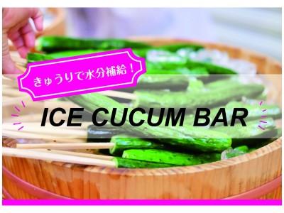連日続く猛暑を乗りきるには、水分補給は冷やしきゅうりで!!「風呂上がりの水分補給に最適」「有料でもまた食べたい」などの反響をいただいた「ICE CUCUM BAR」プロジェクト第二弾