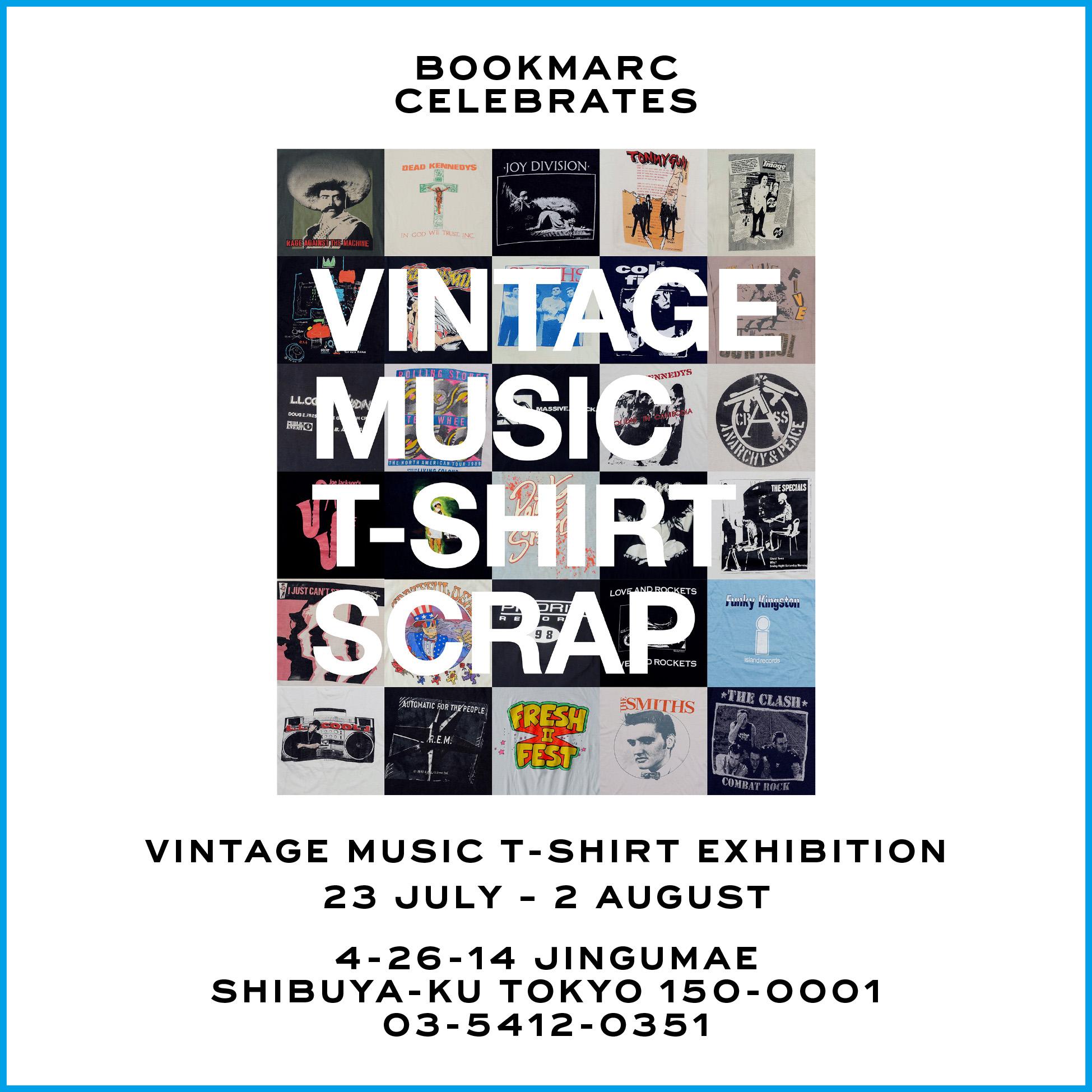 音楽プロデューサー/DJの井出 靖の新著「VINTAGE MUSIC T-SHIRT SCRAP」好評のポスター集に続いて登場!『BOOKMARC』でヴィンテージTシャツ&ポスター展開催!