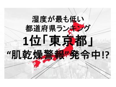"""8割以上の女性が「乾燥を感じる」と回答。湿度が最も低い都道府県ランキング 1位 「東京都」! 都民のカラカラ肌に """"肌乾燥警報"""" 発令中!"""