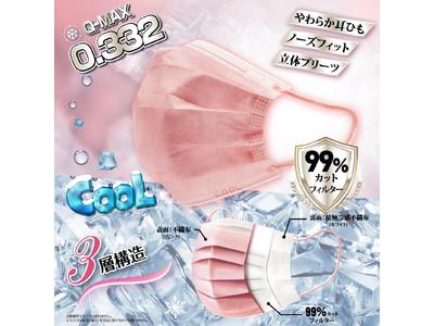 新発売!!【日本一冷たい!?】高機能99%カット冷感不織布マスク 【ピンク】