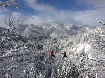 白銀の森を飛ぶ日本最大級のジップライン&ジビエに温泉!過疎の町、福井県池田町の冬が今年も熱い!