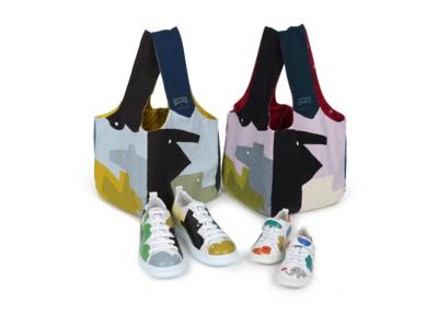 カンペールとテキスタイルデザイナー「鈴木マサル」が4年ぶりにタッグを組み、コラボレーション。初の試みとなるメンズ、ウィメンズ、キッズのツインズ・シューズと新作バッグが登場