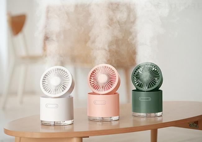 【在庫限りの割引セール!】「HBLINK ミスト扇風機」シルキーな水蒸気でリラックス【USB充電】【... 画像