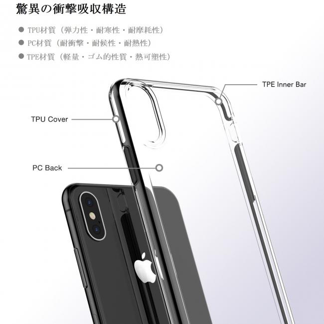 1c930c462f 商品名:Artifit iPhoneXケース スマホケース 米軍MIL規格取得 耐衝撃 IC カード収納 Qi充電対応TPU+TPE+PC素材 高品質  iPhone用保護ケース V8-2970(ブラック)