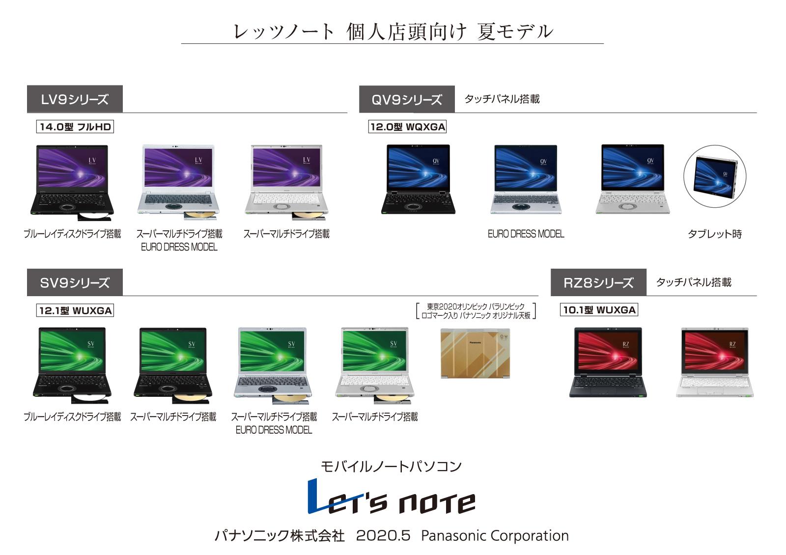 モバイルパソコン「Let's note」個人店頭向け夏モデル発売