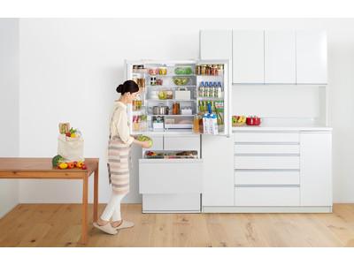 大容量冷蔵庫 NR-F516MEX 他1機種を発売。「Wシャキシャキ野菜室」を真ん中にレイアウトし、出し入れしやすく使いやすい。