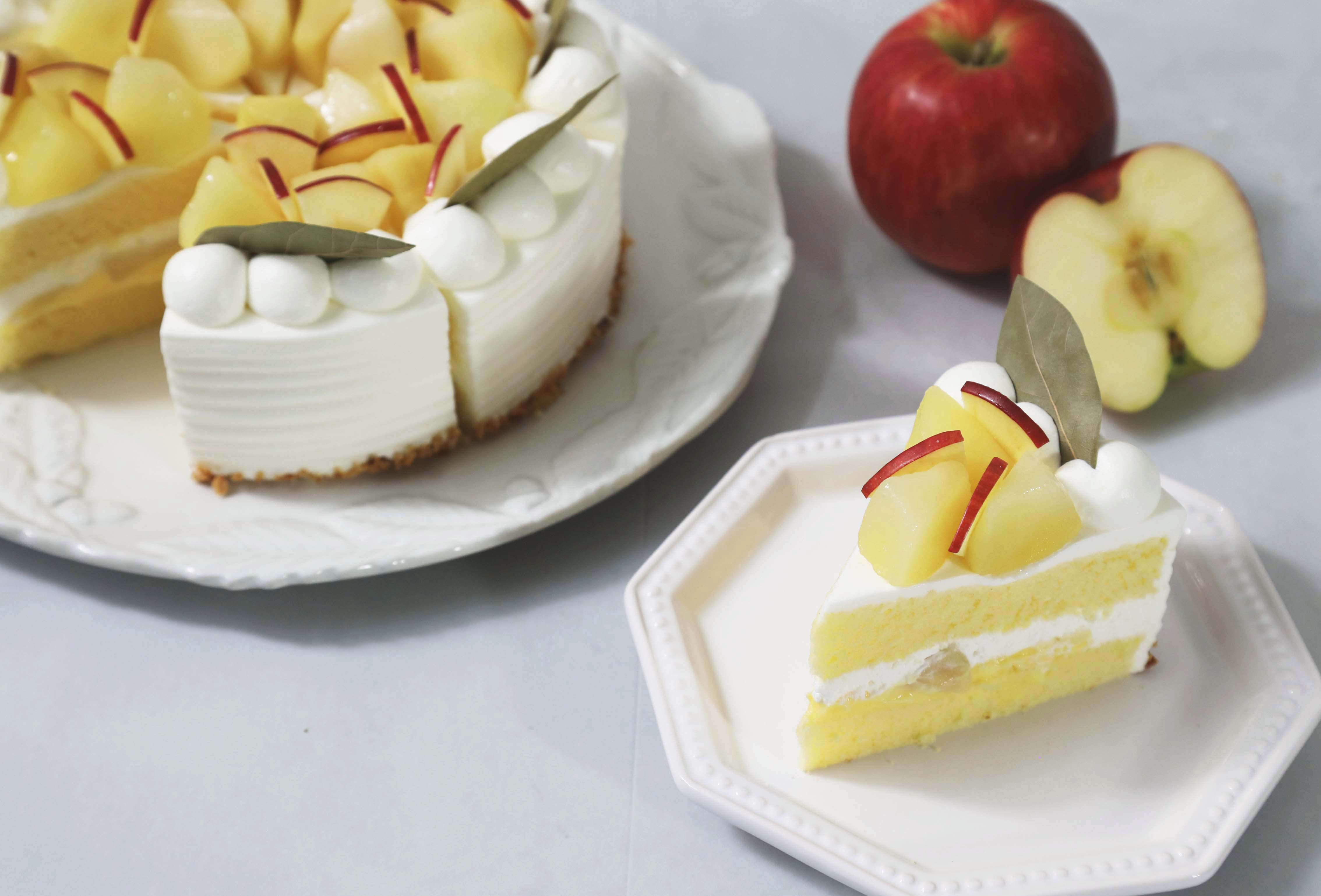 【2021年初登場!りんごを使ったケーキ】「PÂTISSERIE PINEDE(パティスリーピネード)」より、「季節のショートケーキ りんご」を発売