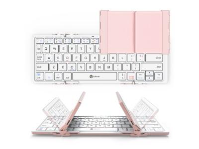 【新発売】女性向け折りたたみキーボード「iClever」BK-03ピンクローズ色新発売!iPhone・iPad・Android・Windows・Mac各OS対応