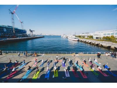 海沿いのオープンモール「MARINE & WALK YOKOHAMA」でSHONAN BEACH YOGAによる8回目のヨガイベント「MARINE YOGA」が10/26(土)-27(日)に開催決定!