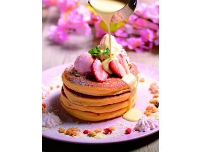 『ベルヴィル』自慢のふわふわのミルフィーユパンケーキに、さくらのアイスとホイップをトッピング♪『さくらパンケーキ』登場 ホワイト生チョコレートソースを自分でかけて楽しさUP! 3月4日(月)スタート