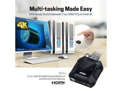 【4K対応】デスク周りの作業ペースを最適化!コンピューター2台を1組のキーボード・マウス・ディスプレイで切り替えながら操作可能。