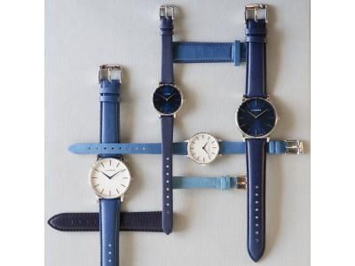 """デンマークの時計ブランド「LLARSEN / エルラーセン」から、日本の天然本藍染革ブランド「SUKUMOレザー」とコラボレーションした日本限定 """"Japan Blue Collection""""を発売。"""