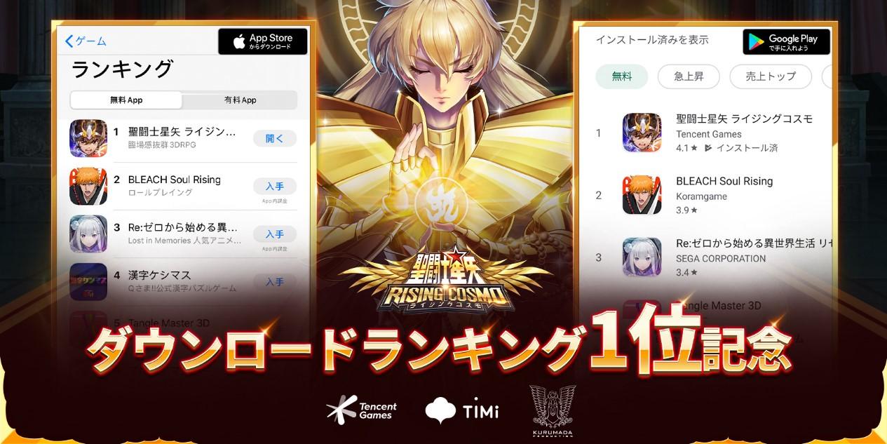 『聖闘士星矢 ライジングコスモ』がApp Store/ Google Play無料ダウンロードランキングで1位を獲得!記念キャンペーンを同時開催