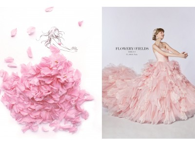 SNSで大人気作家 葉菜桜 花子とクラウディアがコラボ!花を全身にまとう夢のドレス「FLOWERY FIELDS」を発表