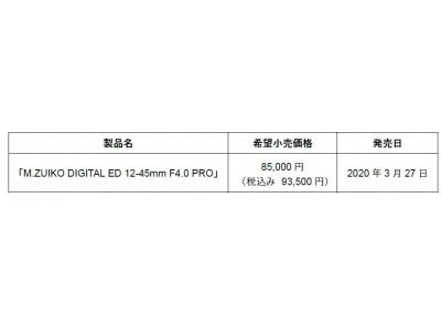 究極の小型・軽量と解像力を実現したM.ZUIKO PROレンズ「M.ZUIKO DIGITAL ED 12-45mm F4.0 PRO」(35mm判換算24-90mm相当)発売日決定のお知らせ
