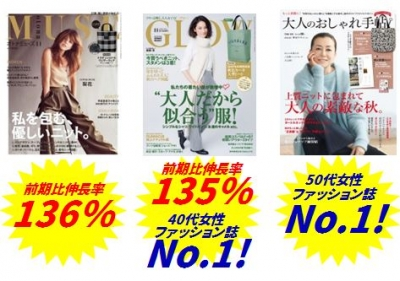 『GLOW』40代女性ファッション雑誌 No.1! 『大人のおしゃれ手帖』50代女性ファッション雑誌 No.1!