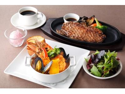 大きなオマール海老のブイヤベースと熱々の鉄板ステーキ