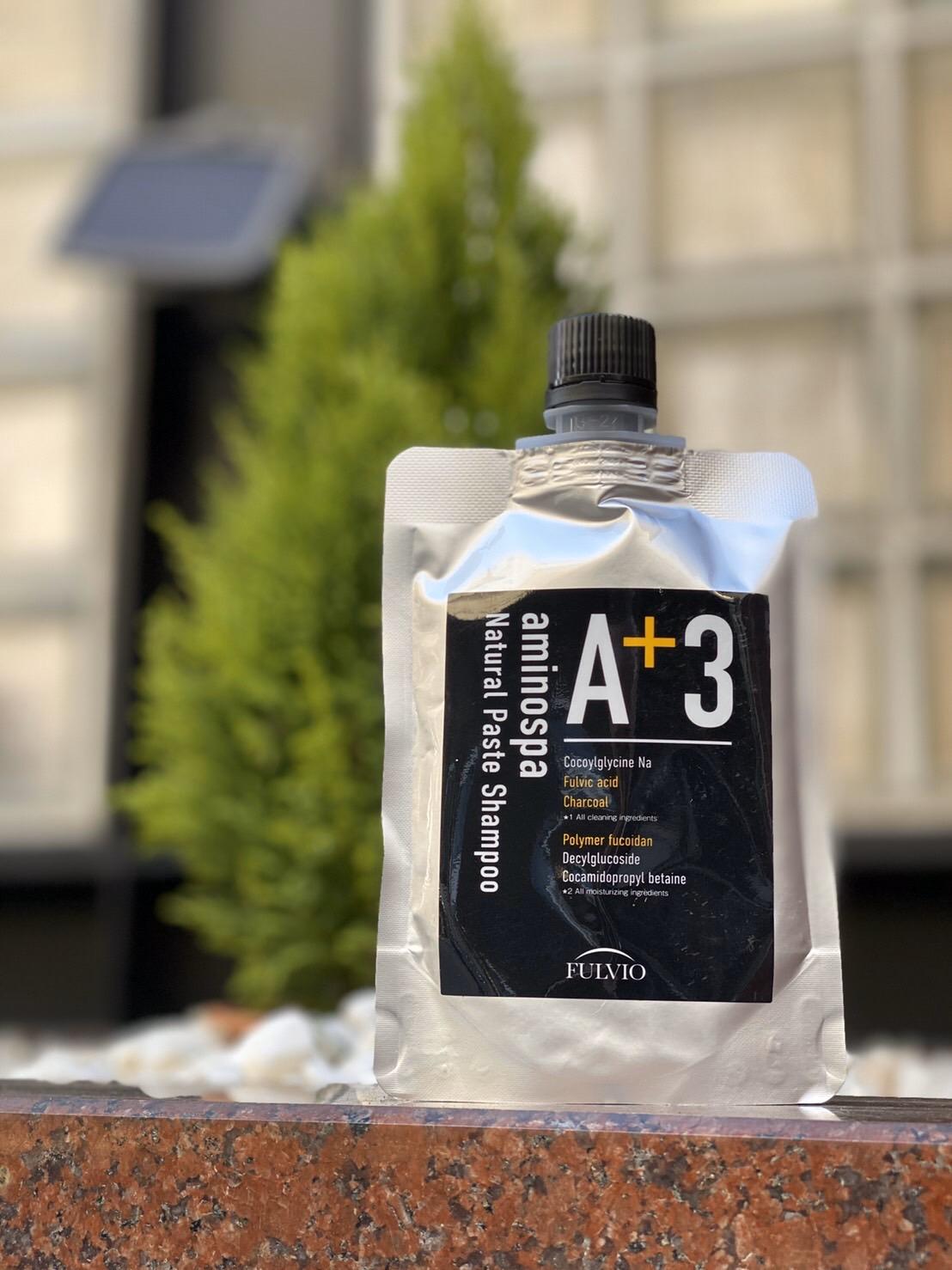 販売累計43万本発売中のフルボ酸エキス高配合aminospa A+3シャンプ-に                                          メンズ用ぺ-ストシャンプ-が新登場!!