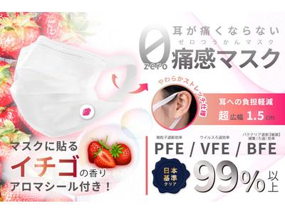 """""""イチゴ""""のアロマの香る高品質マスクが1箱(50枚)1280円で新登場!手軽に、清潔に、1日中香りを楽しむ!マスクから直接苺の香り""""が漂いジューシーな甘い香りで心身を穏やかに整え、毎日をHappyに!"""