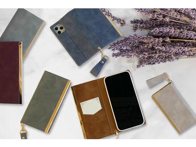 大人気のスウェード風レザーを使用した、高級感あふれる「iPhone12/12 Pro/12 Pro Max/12 mini」の新モデル対応の手帳型ケース新登場!