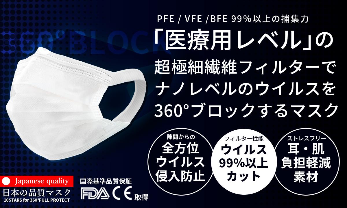 【360°ウイルス徹底ブロック!】医療用レベルの捕集力と外気の侵入を防ぐ3D立体形状!耳痛ストレスを解消した、敏感肌にも優しい究極のマスクを初回特別価格740円(税別)で販売開始!