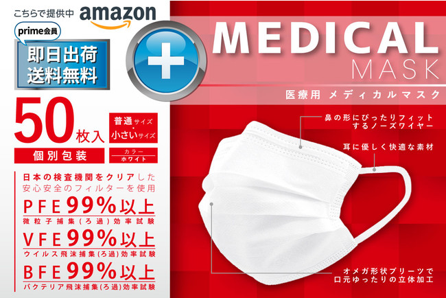 【即日出荷&送料無料!緊急事態宣言の今こそ適切な対策を!】99.6%ウィルスを捕集する医療(N95)級の高密度フィルターの『メディカルマスク』で感染対策!特別価格1,480円(税込)で追加販売開始!