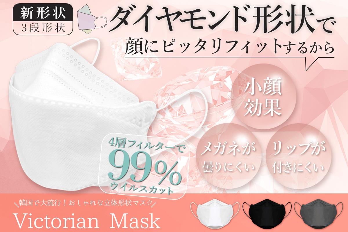 【専門家も推奨!メディアでも話題の進化した不織布マスク!】人間工学に基づいて作られた三段の新形状マスク『Victorian Mask』を大好評につき追加販売!