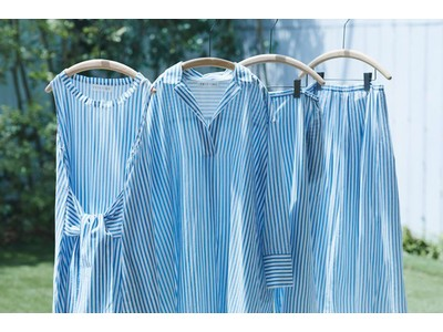日本の伝統色「藍色」を身に纏い、夏を愉しむ。プリスティン、「藍ストライプシリーズ」販売開始こだわりのストライプは、天然藍を原料に手捺染で柄付けしました