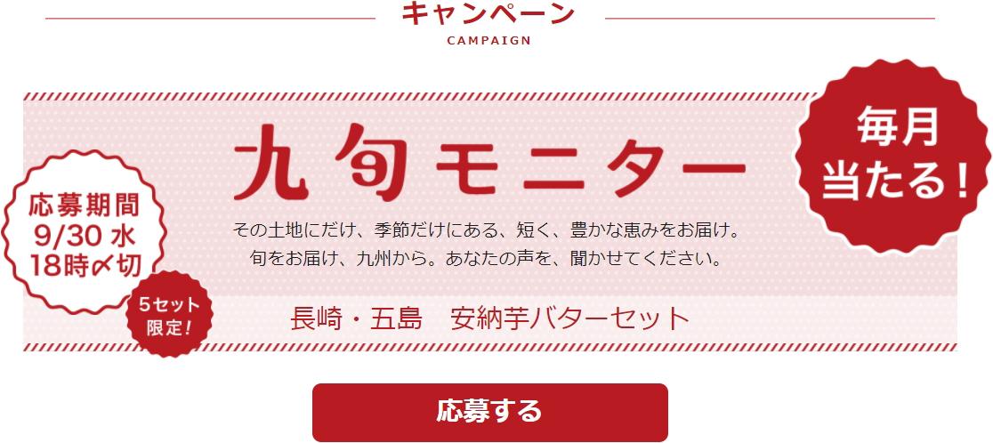 毎月当たる! 九旬モニター。糖度45度、安納芋バターセット、長崎・五島から。