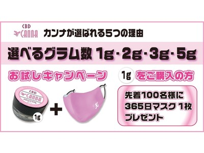 宏福商事のメンタルアジャスト【CBD CANNA】お試し1gをご購入で「365日マスクウィルシュータ」無料プレゼントキャンペーン!!