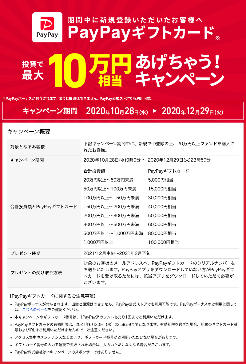 期間中に新規登録&ご購入いただいたお客様へ「PayPayギフトカード投資で最大10万円相当あげちゃう!キャンペーン」開始のお知らせ