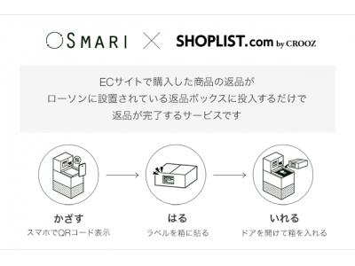 ファストファッション通販サイト『SHOPLIST.com by CROOZ』ローソン店舗に設置された専用ボックスに投入するだけで商品の返品ができる「スマリ SMARI」の導入を開始