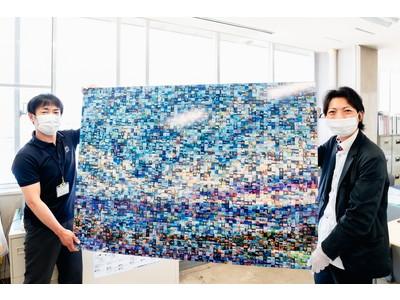 諏訪市役所にて、モザイクアート簡単生成システム「Mosaic Live(モザイクライブ)」で制作した作品が展示されました