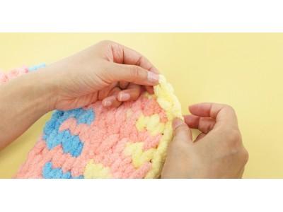 編み針などの道具は一切不要!今までになかった新しい毛糸が登場。手で編む!?超極太ループヤーン『ウイスターファンファン』発売!