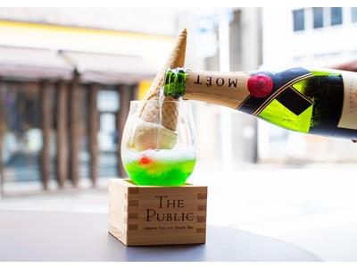 【夏限定】モエで割るエモい大人のメロンクリームソーダが登場!静岡クラウンメロンを贅沢に使ったシャンパンカクテルを提供。<THE PUBLIC RED AKASAKA>