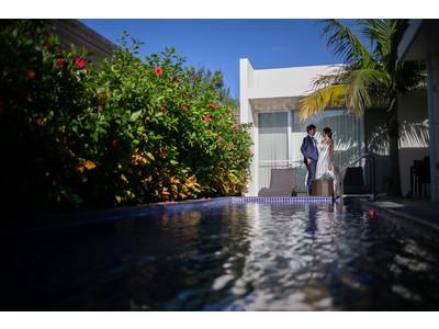 花婿花嫁さま応援キャンペーン!プライベートプール付きヴィラ1棟宿泊付きフォトウェディングプランを20%OFFでご提供します。
