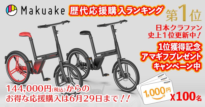 【HONBIKE(ホンバイク)】Makuakeでの応援購入金額「歴代1位」を記念してキャンペーンを行います!