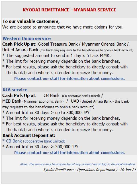 ミャンマーの銀行口座あて海外送金サービスの再開について