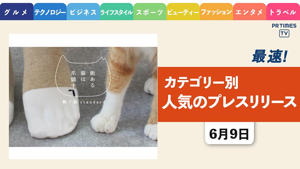 【「猫足になれる」ソックス新発売 収益は保護猫の命を守るために活用】 ほか、カテゴリー別新着トレンド6月9日